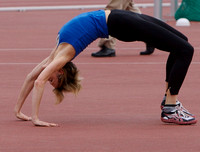 High jumper Deirdre Ryan bends over backwards!